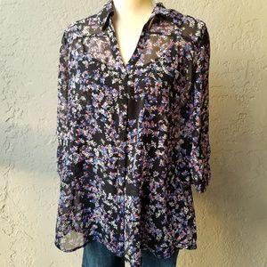 Express Portofino Button Down Shirt Sheer Floral